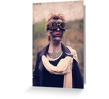 Dieselpunk Kitty Shoot - Mushroom Cloud Goggles Greeting Card