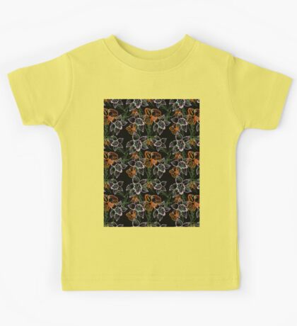 purple and orange watercolor orchids Kids Tee