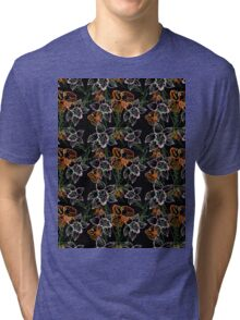 purple and orange watercolor orchids Tri-blend T-Shirt