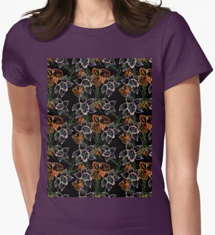 purple and orange watercolor orchids Womens Fitted T-Shirt