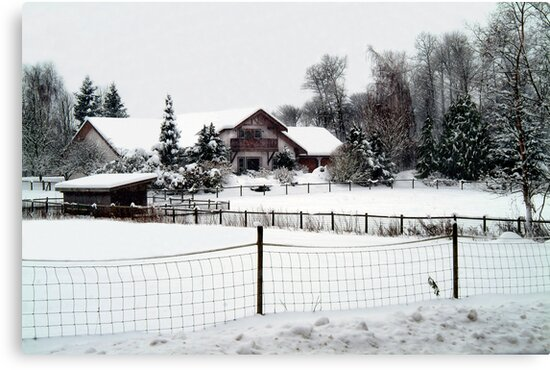 Snowed In Country Farmhouse by Merilyn