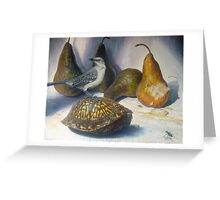 Mockingbird and the Box-turtle ( with tiger beetle) Greeting Card