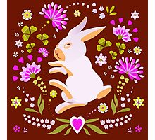 Easter Bunny on Chocolate Background Photographic Print