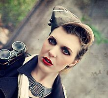 Dieselpunk Kitty Shoot - Aviatrix Stare by atomicgirl