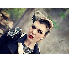 Dieselpunk Kitty Shoot - Aviatrix Stare Photographic Print