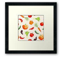 Watercolor vegetables pattern Framed Print