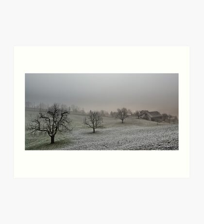 farm on a gray winter day Art Print