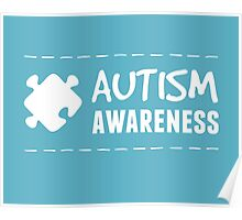 Autism Awareness in White Poster