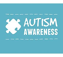 Autism Awareness in White Photographic Print