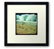 Stormy beach photography print, Los Cabos Mexico travel photography, green ocean waves footprints in the sand TTV Framed Print