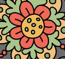 Flower mandala - red, green, yellow and gray Sticker