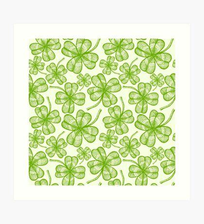Seamless clovers pattern Art Print