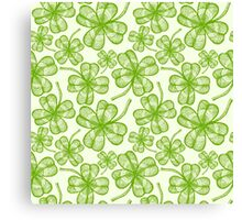 Seamless clovers pattern Canvas Print