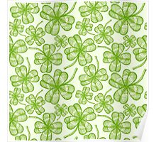 Seamless clovers pattern Poster
