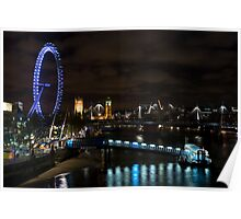London Eye and Houses of Parliament from Waterloo Bridge Poster