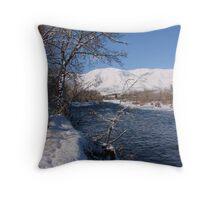 Snowy Naches River Throw Pillow