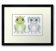 Prince Frog and Lanky Dog Framed Print