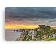 WWII Bunker at Sunset, France Canvas Print