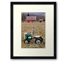 Wooden Toy Tractor in Front of the Barn Framed Print