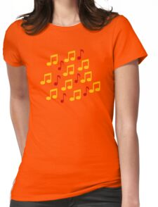 Yellow music notes Womens Fitted T-Shirt