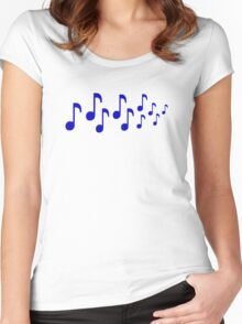 Blue music notes Women's Fitted Scoop T-Shirt
