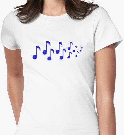 Blue music notes Womens Fitted T-Shirt