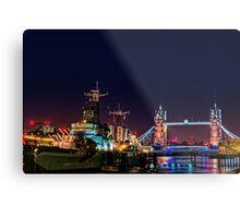 HMS Belfast And Tower Bridge at Night, London, England Metal Print