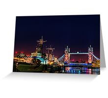 HMS Belfast And Tower Bridge at Night, London, England Greeting Card
