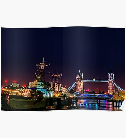 HMS Belfast And Tower Bridge at Night, London, England Poster