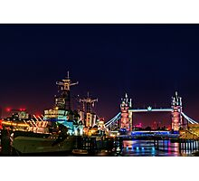 HMS Belfast And Tower Bridge at Night, London, England Photographic Print