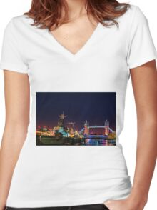 HMS Belfast And Tower Bridge at Night, London, England Women's Fitted V-Neck T-Shirt