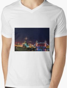 HMS Belfast And Tower Bridge at Night, London, England Mens V-Neck T-Shirt