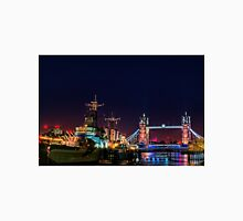 HMS Belfast And Tower Bridge at Night, London, England Unisex T-Shirt
