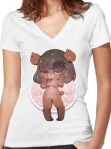 KAWAII chocovii Furry Chibi Mascot Women's Fitted V-Neck T-Shirt