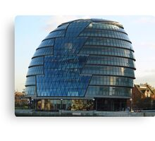 The imposing glass Greater London mayoral building on the banks of the Thames Canvas Print