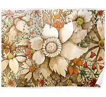 vintage coloured flowers Poster