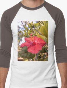 Red Hibiscus Flower Men's Baseball ¾ T-Shirt