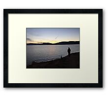 person by the lake Framed Print