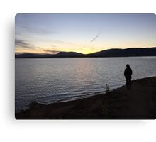person by the lake Canvas Print