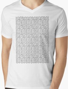 Knitting Knit Pattern - Doodle Ink Black and White Mens V-Neck T-Shirt