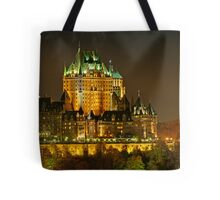 Night view of Le Chateau Frontenac, Quebec City Tote Bag
