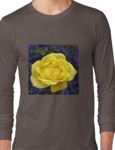 Dreamy Yellow Rose and Purple Lobellia Long Sleeve T-Shirt