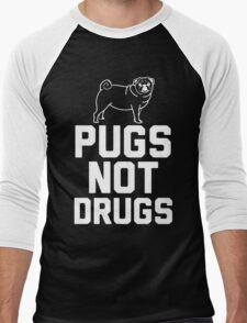 Pugs Not Drugs [White] Men's Baseball ¾ T-Shirt