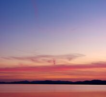 Sunset with Moon, Lake Champlain (Vertical) by Stephen Beattie