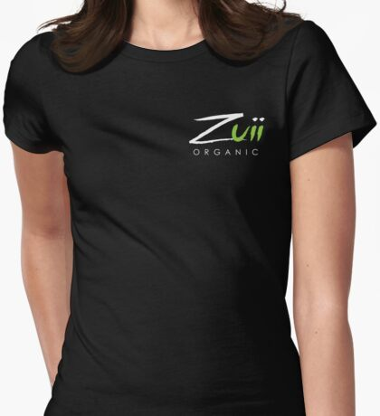 Logo Stacked Black Womens Fitted T-Shirt