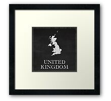 United Kingdom Map Chalk Drawing Framed Print