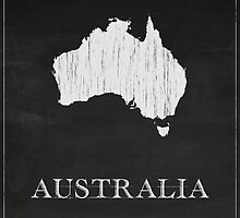 Australia Map Chalk Drawing by FinlayMcNevin