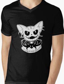 "Cat Skellington ""Mow"" Mens V-Neck T-Shirt"