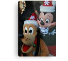 Mickey and Goofy Holidays Metal Print