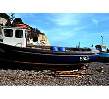 Boats on the Beach at Beer Devon UK Photographic Print